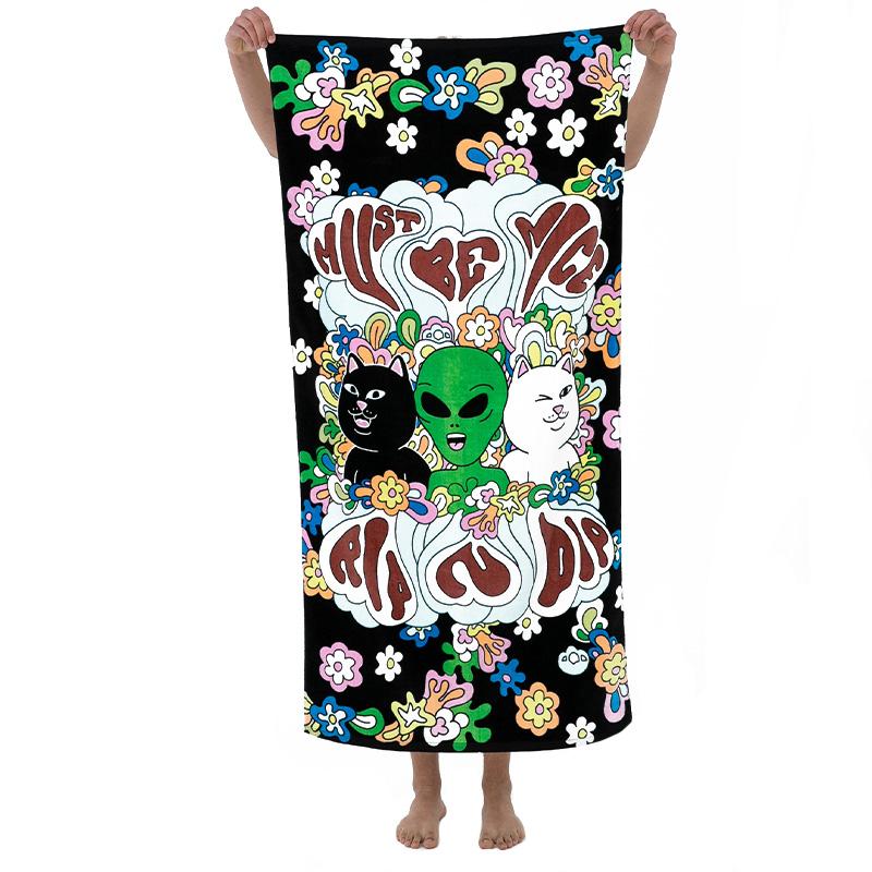 RIPNDIP Flower Child Beach Towel Black