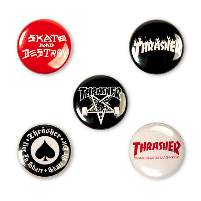 Thrasher Logo Buttons 5-Pack