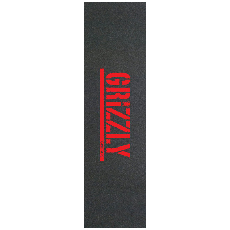 Grizzly Stamp Griptape Sheet Red Print 9.0