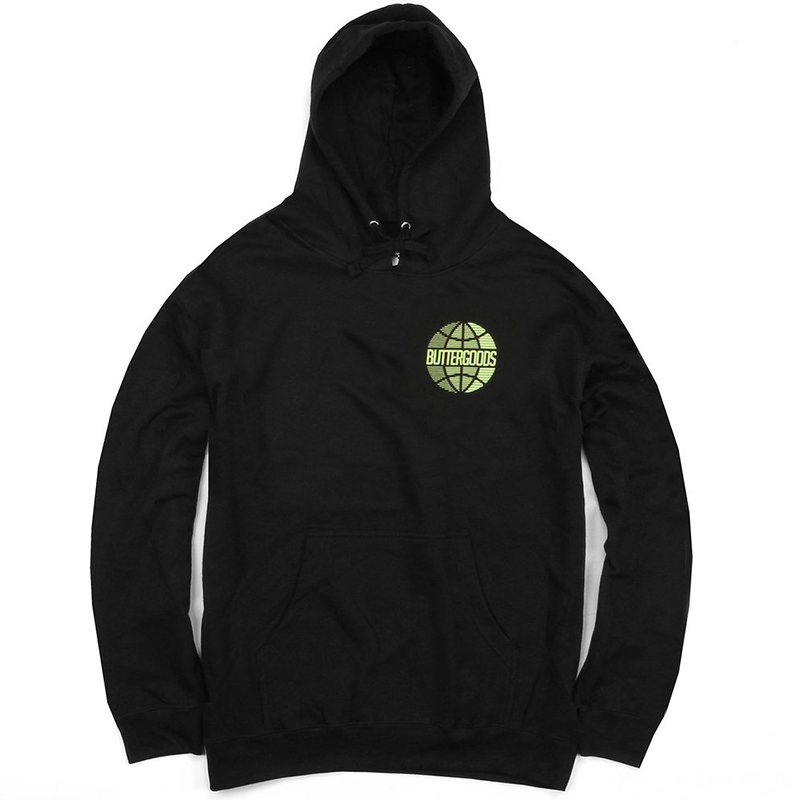 Butter Goods Lateral Worldwide Logo Hoodie Heather Black
