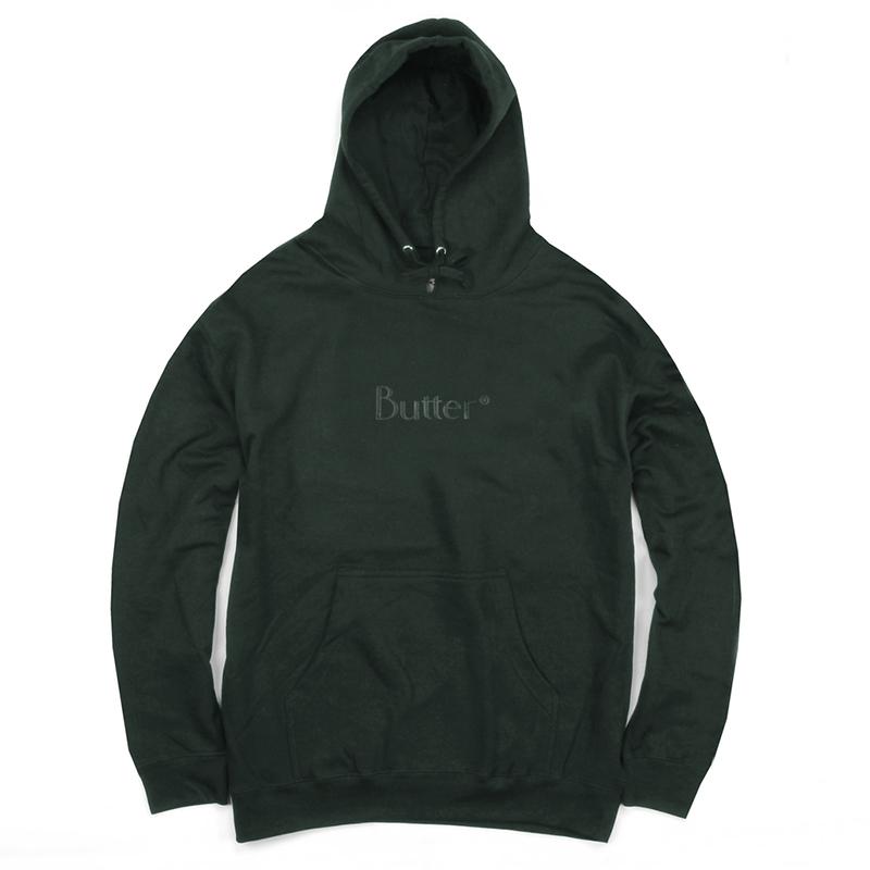 Butter Goods Tonal Classic Logo Hooded Sweater Forest Green