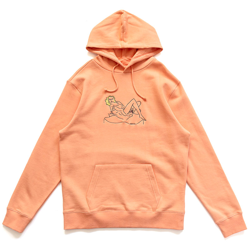 Chrystie NYC Woman On The Chair Hoodie Washed Orange