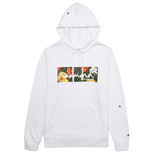 Diamond Aloha Floral Box Logo Hoodie White