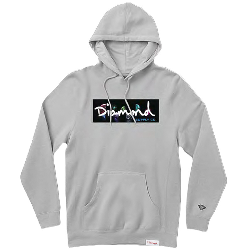 Diamond Colors Box Logo Hoodie Heather Grey