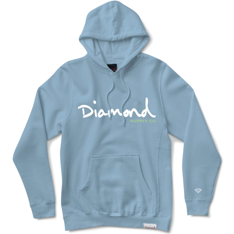 Diamond OG Script Hooded Sweatshirt Powder Blue