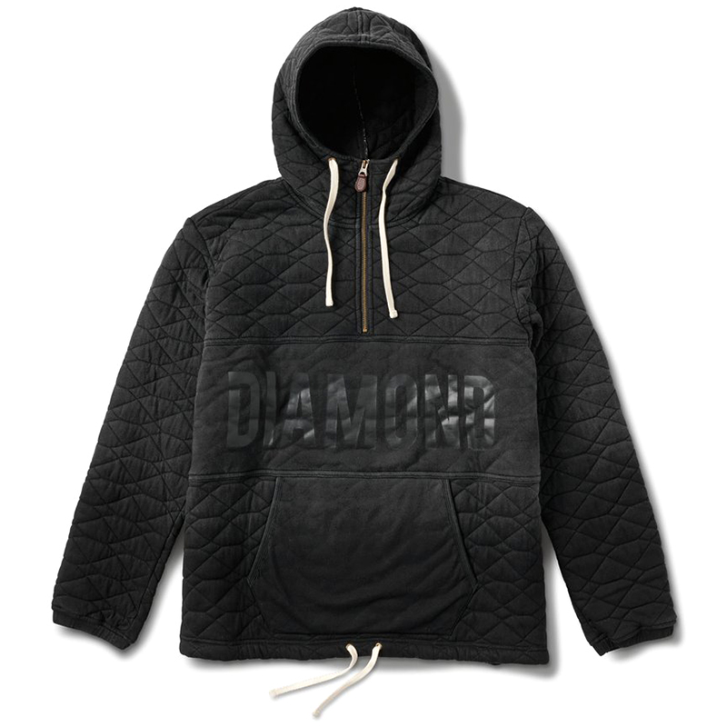 Diamond Quilted Half Zip Hoodie Black