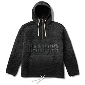 Diamond Quilted Half Zip Hoodie Black