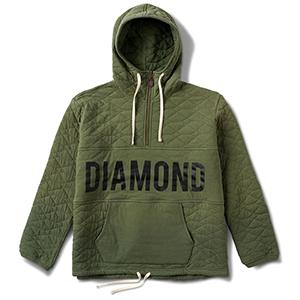 Diamond Quilted Half Zip Hoodie Olive