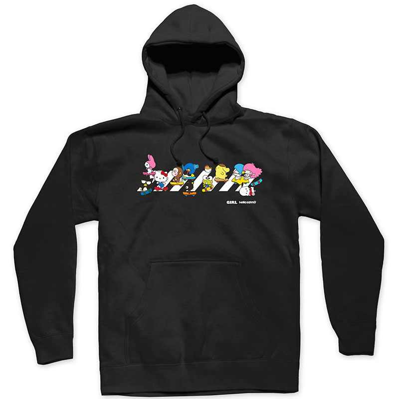 Girl Hello Sanrio Crosswalk Hooded Sweatshirt Black