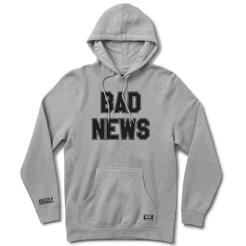 Grizzly Bad News 2 Hoodie Heather Grey