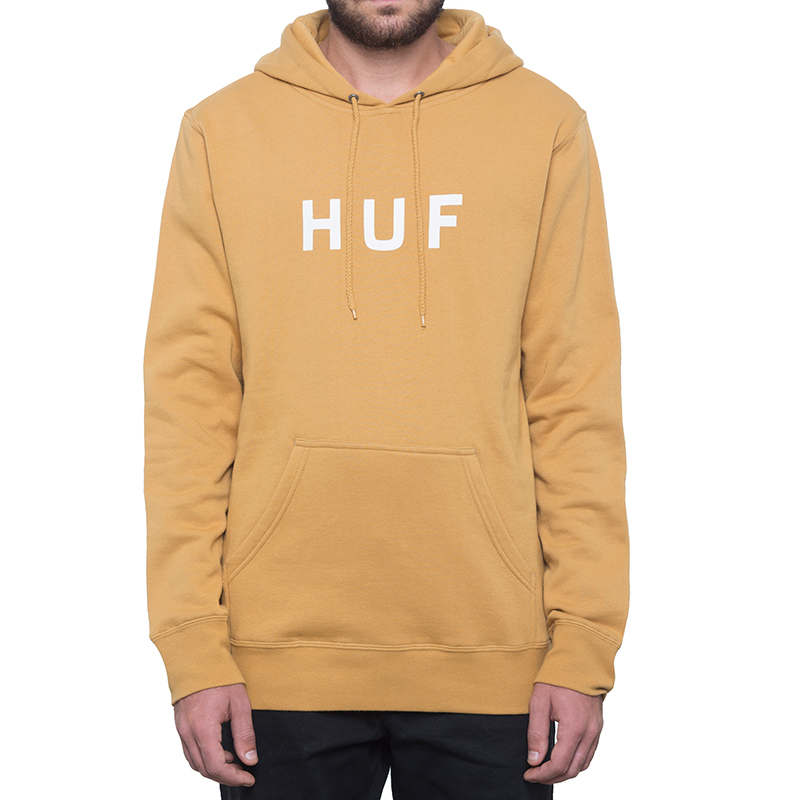 HUF Essentials Og Logo Hoodie Honey Mustard