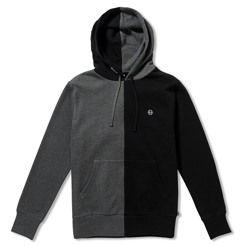 HUF Henry Pullover Hoodie Black Charcoal Heather