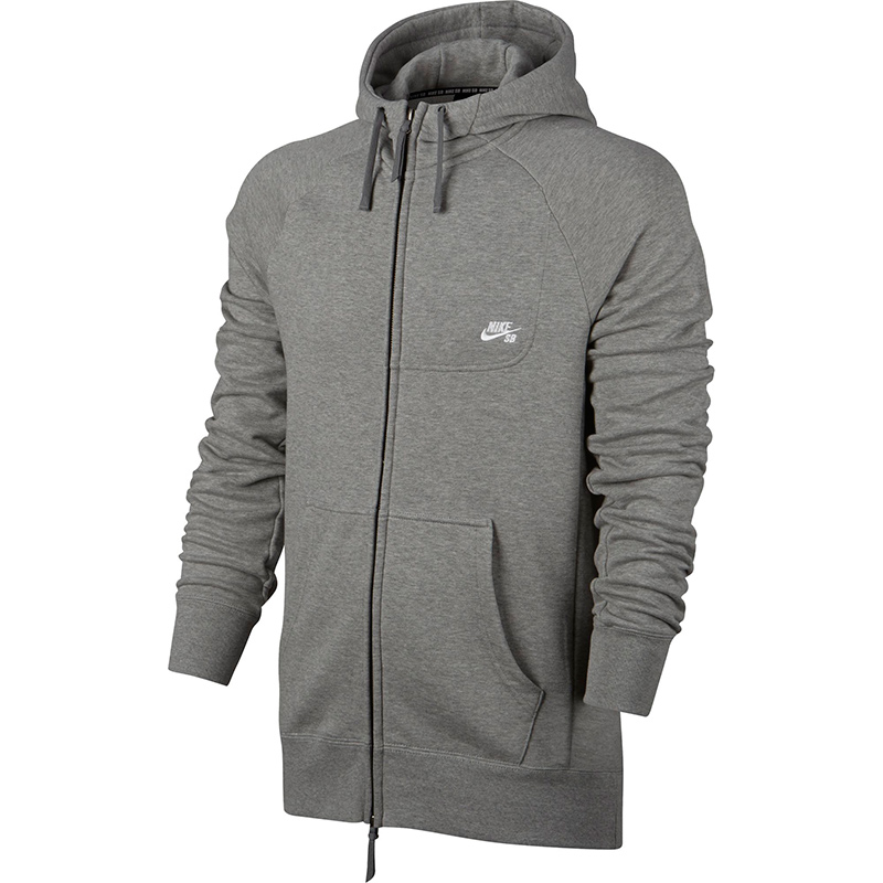 Nike SB Everett Fz Hoodie Dark Grey Heather/White