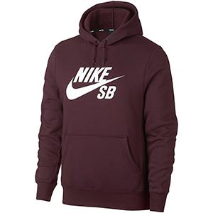 Nike SB Icon Essential Hoodie Burgundy Crush/White