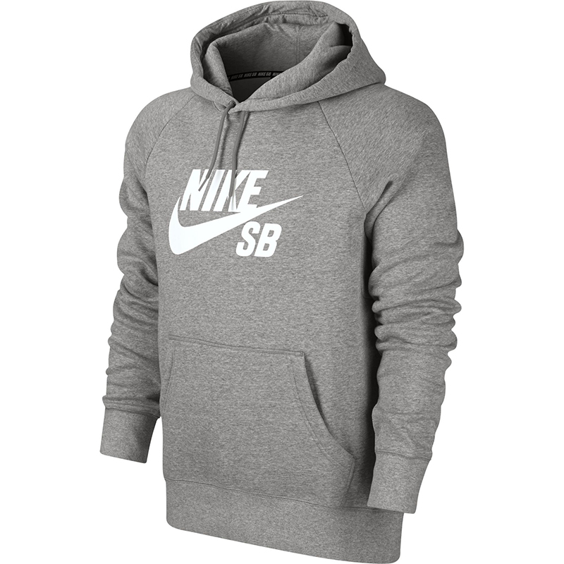 Nike SB Icon Pullover Hoodie Dark Grey Heather/White