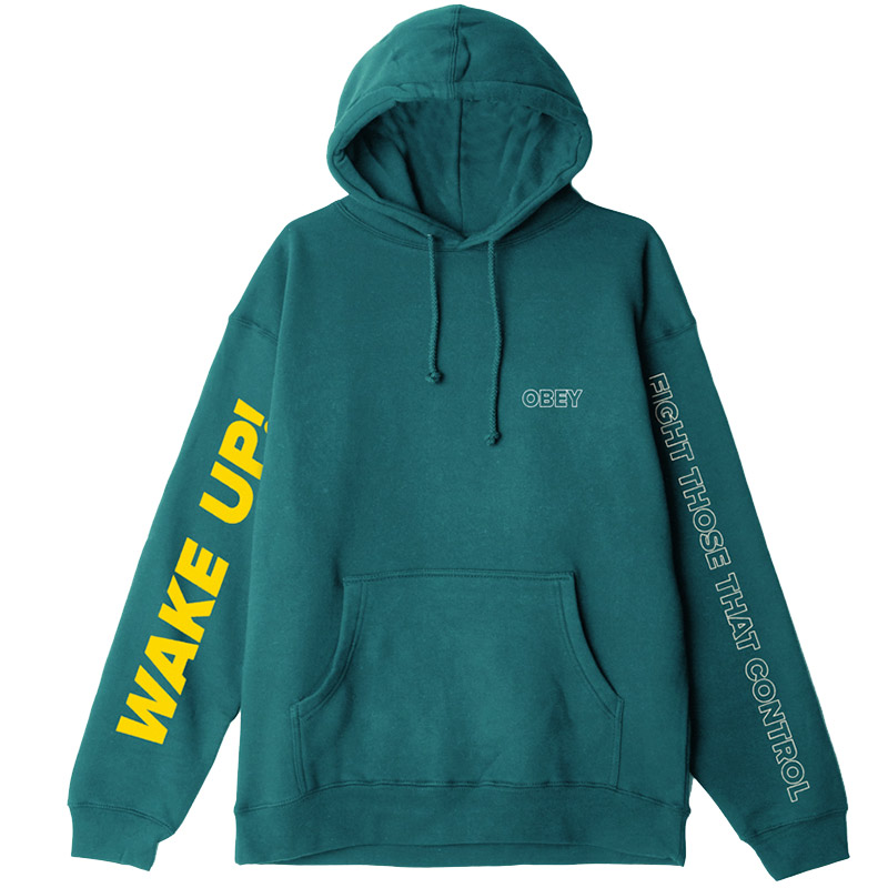 Obey Fight Those That Control Hoodie Teal Blue