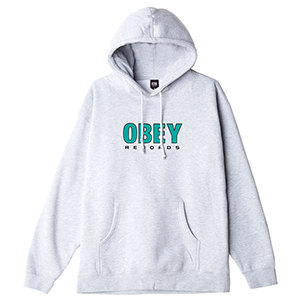 Obey Records 2 Hoodie Heather Grey