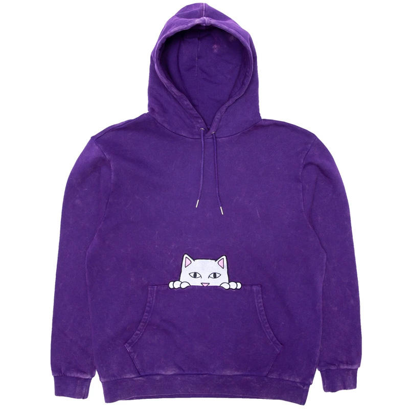 RIPNDIP Peeking Nermal Embroidered Hoodie Purple Mineral Wash