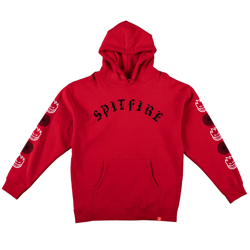 Spitfire Old E Combo Sleeve Hoodie Red