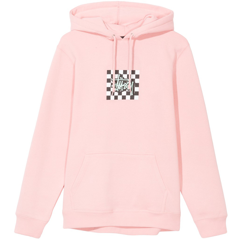 Stussy Checkers Hoodie Dusty Rose