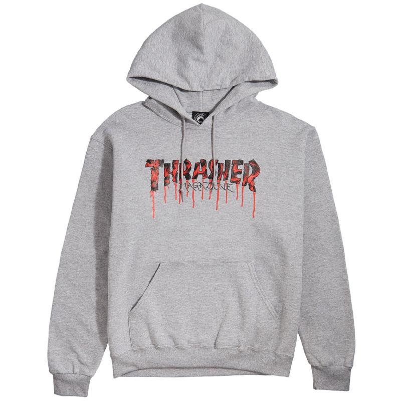Thrasher Blood Drip Hoodie Ash