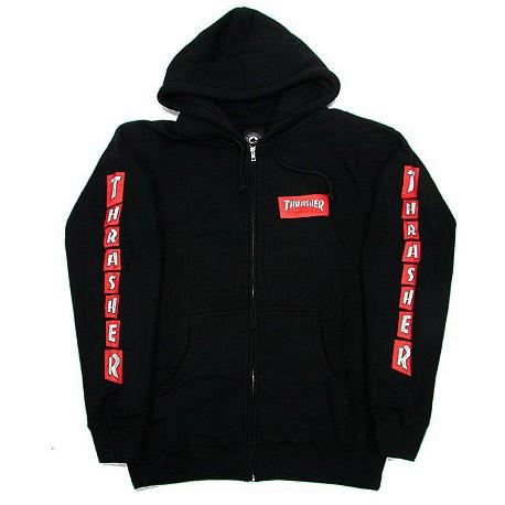 Thrasher Boxed Logo Zip Hoodie Black