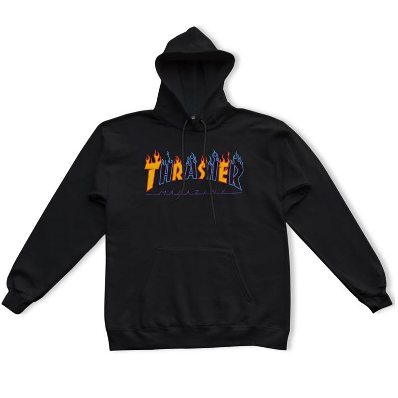 Thrasher Double Flame Hoodie Black