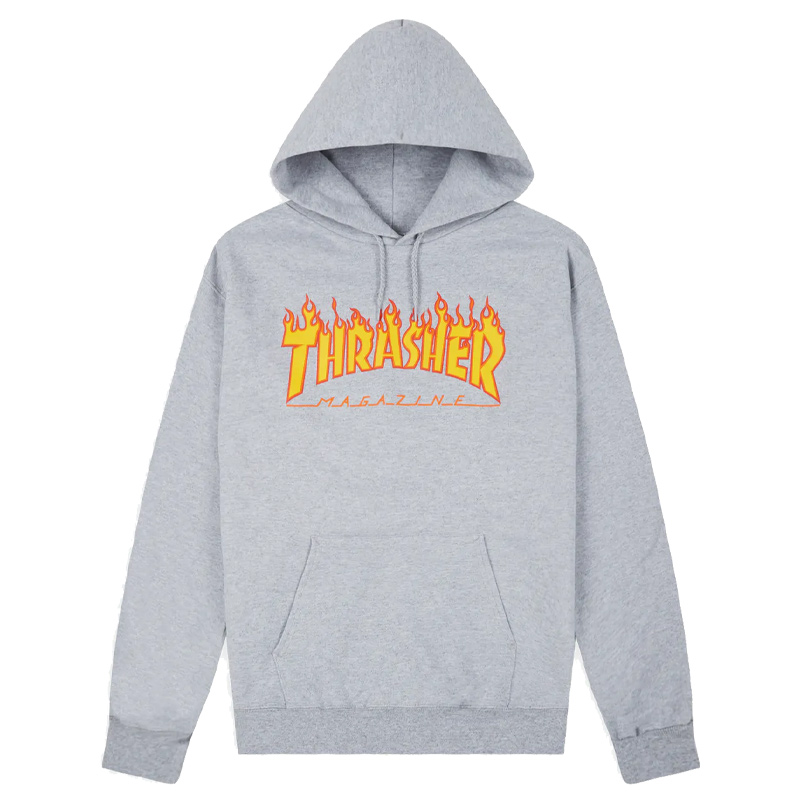 THRASHER FLAME HOODED SWEATER GREY – Skateboards Amsterdam