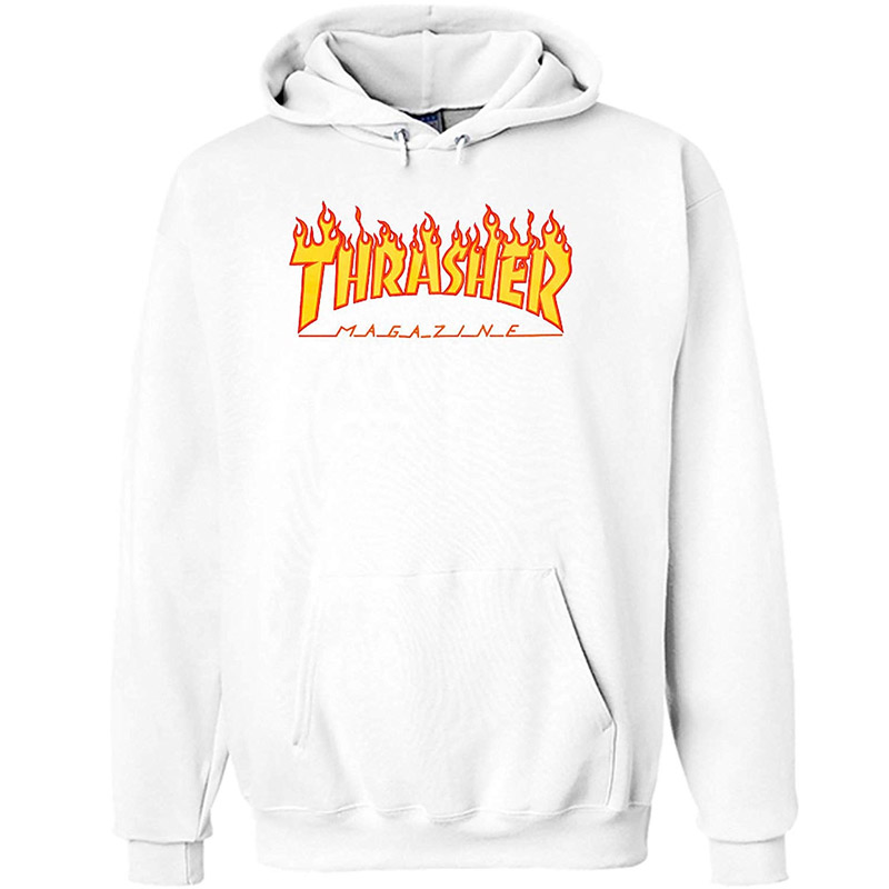 Thrasher Flame Hoodie White