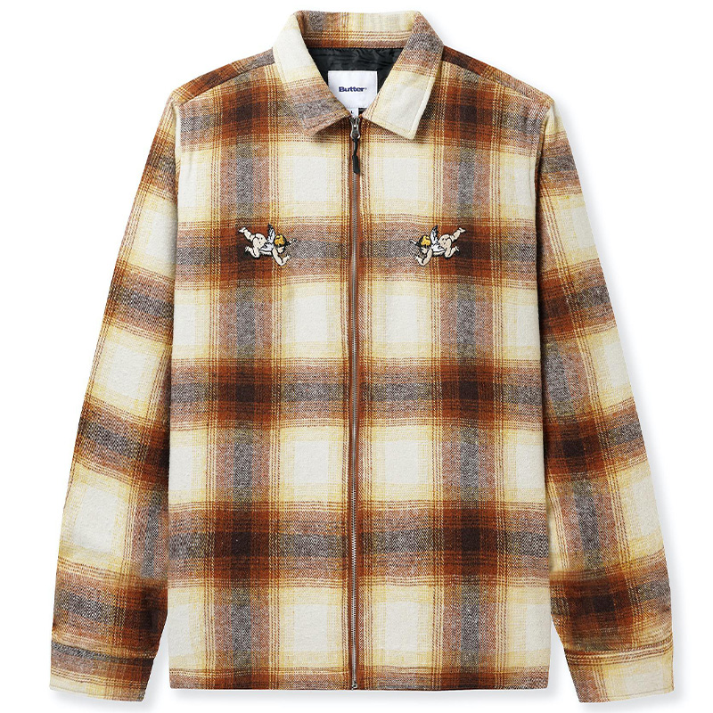 Butter Goods Angels Heavyweight Plaid Overshirt Brown/Taupe