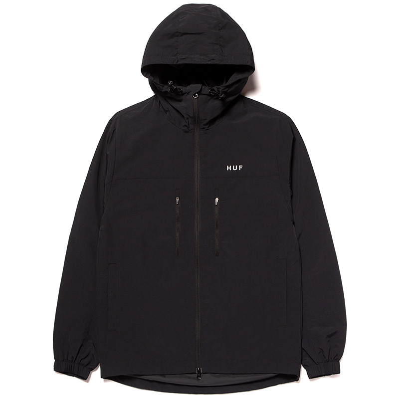 HUF Essentials Zip Standard Shell Jacket Black