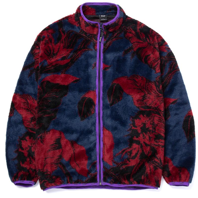 HUF Sativa Floral F/Z Sherpa Sweater Jacket Navy Blazer