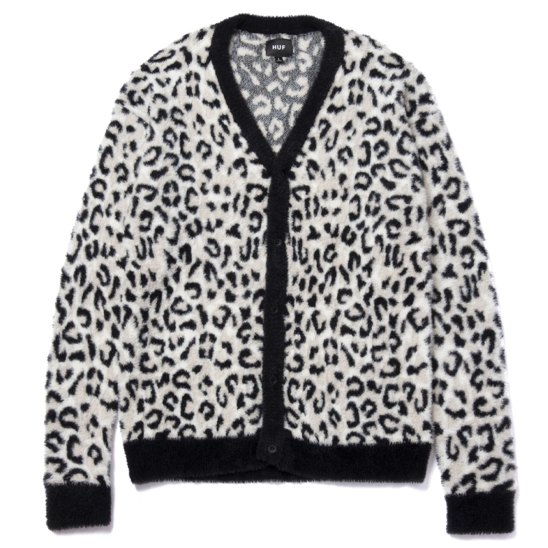 HUF Snow Leopard Cardigan White