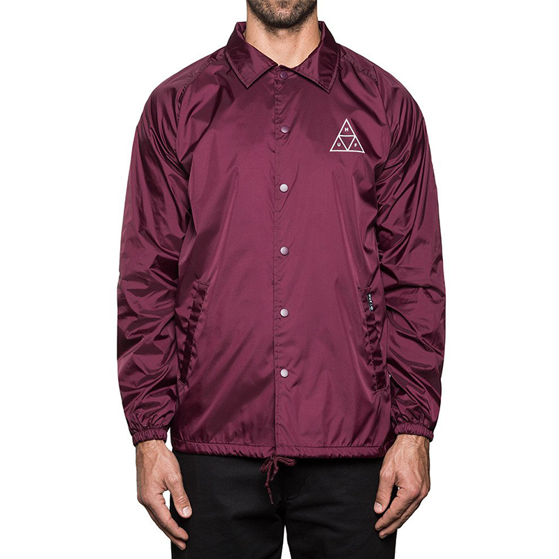 HUF Triple Triangle Coachs Jacket Maroon