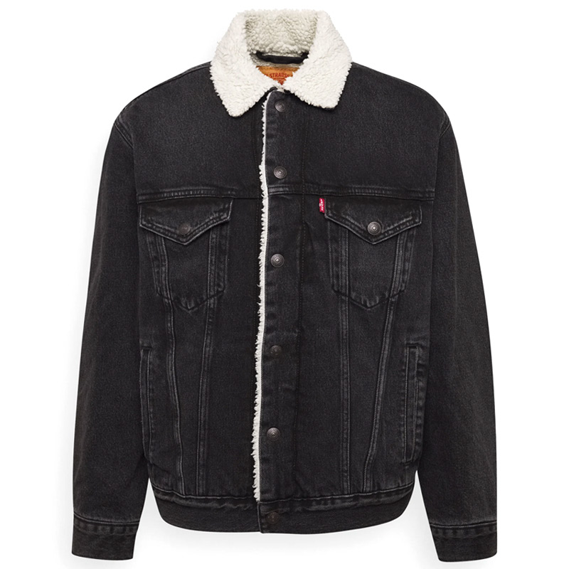 Levi's Vtg Fit Sherpa Trucker Jacket Midnight Black