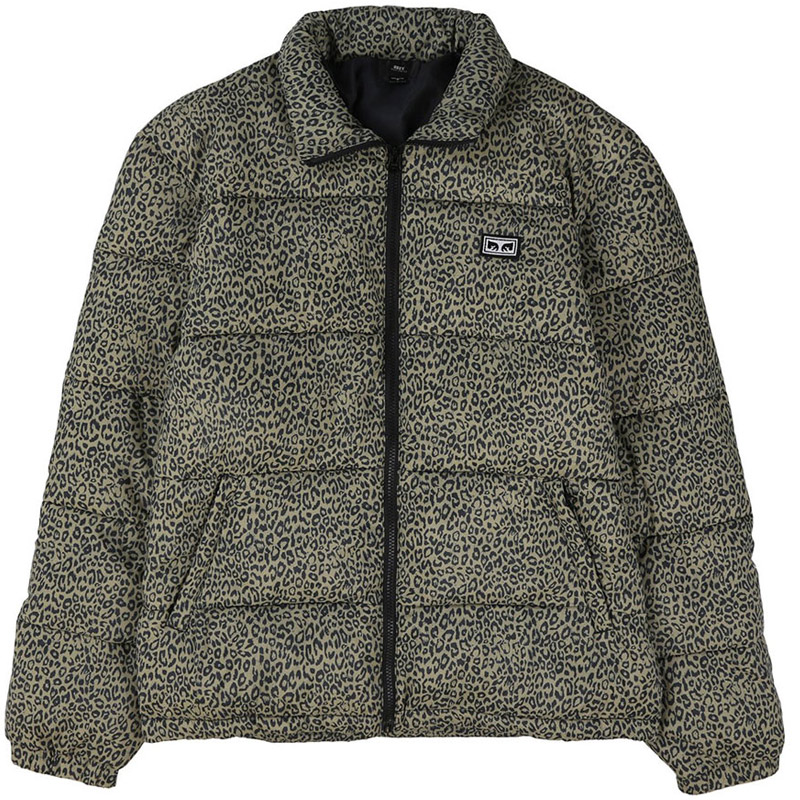 Obey Bouncer Puffer Jacket Khaki Leopard