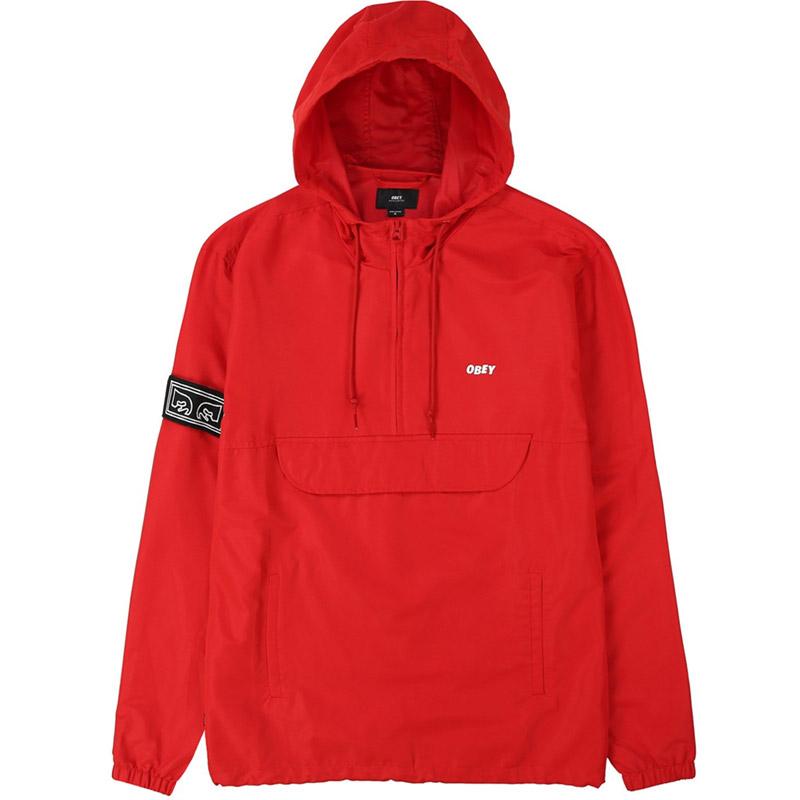 Obey Crosstown II Anorak Jacket Hot Red