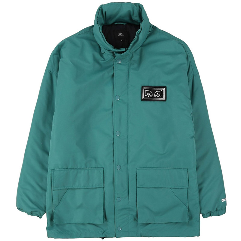 Obey Derby Box Parka Jacket Dusty Teal