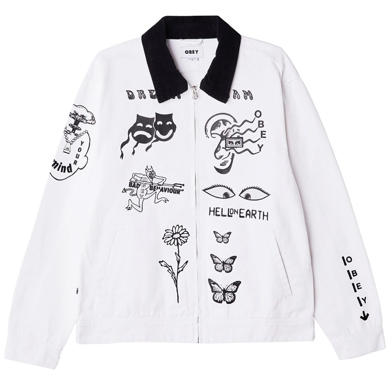 Obey Dream Team Denim Jacket White