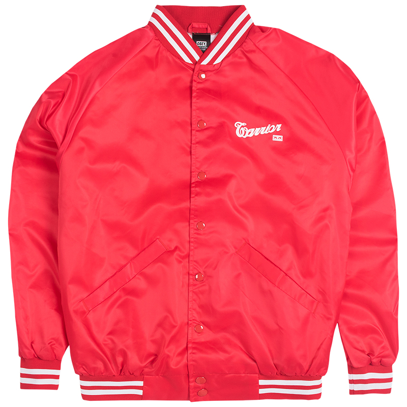 Obey X Warrior Satin Bomber Jacket Red
