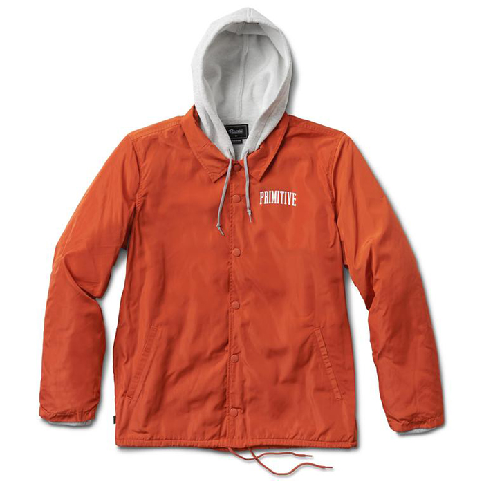 Primitive Two-Fer Hooded Coach Jacket Collegiate Script Orange