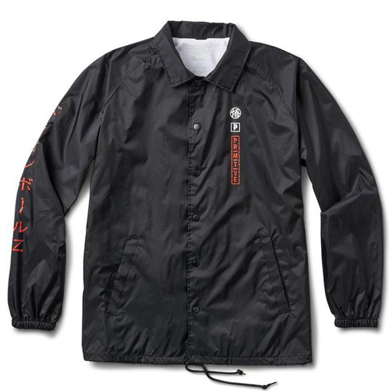 Primitive X DBZ Goku Saiyan Style Coach Jacket Black