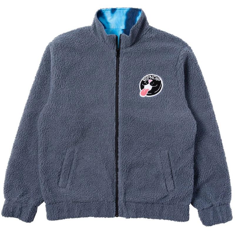 RIPNDIP Pill Reversible Sherpa Varsity Jacket Solid Grey&Blue Dye