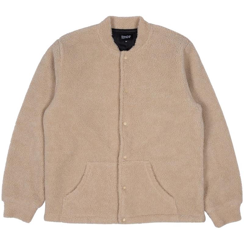 RIPNDIP Pill Sherpa Varsity Jacket Tan