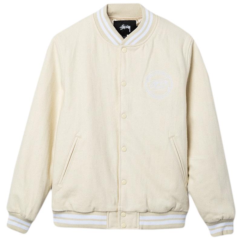 Stussy Stock Varsity Jacket Off White