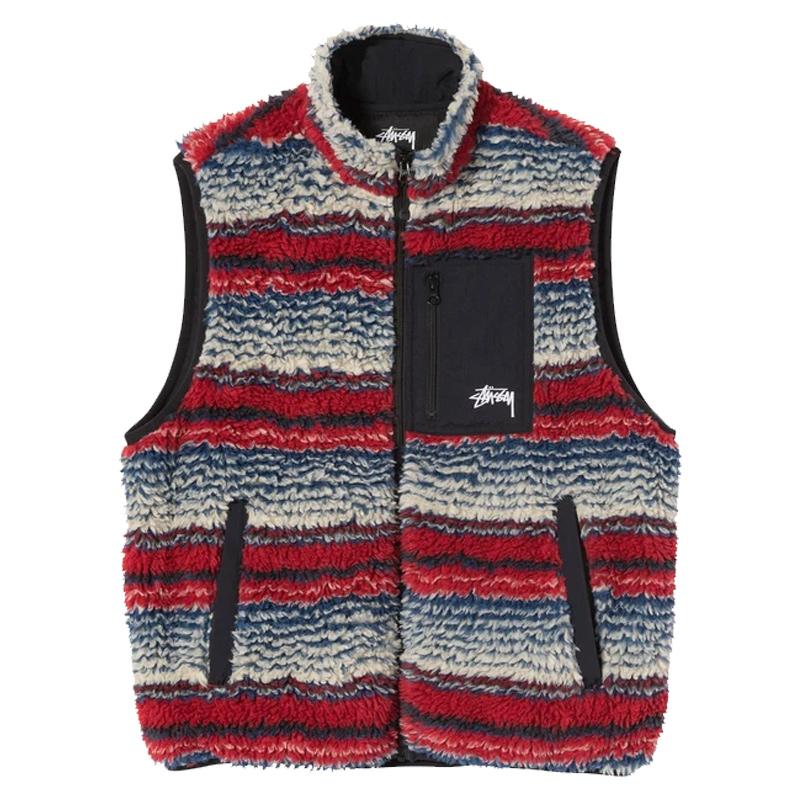 Stussy Striped Sherpa Vest Multi