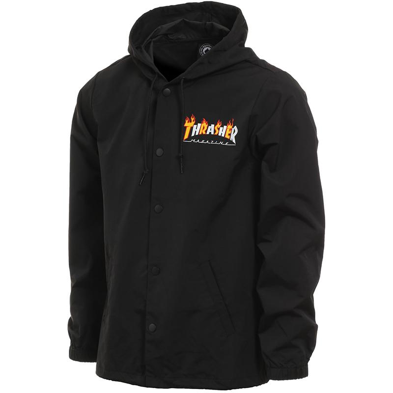 Thrasher Flame Mag Coach Jacket Black