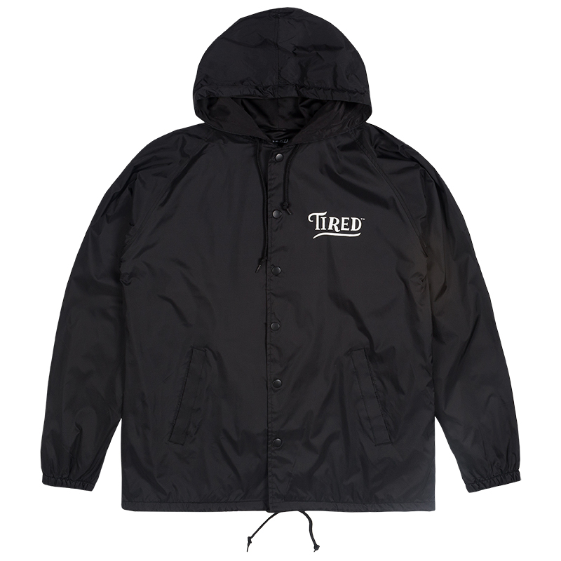 Tired Swoop Hooded Coach Jacket Black