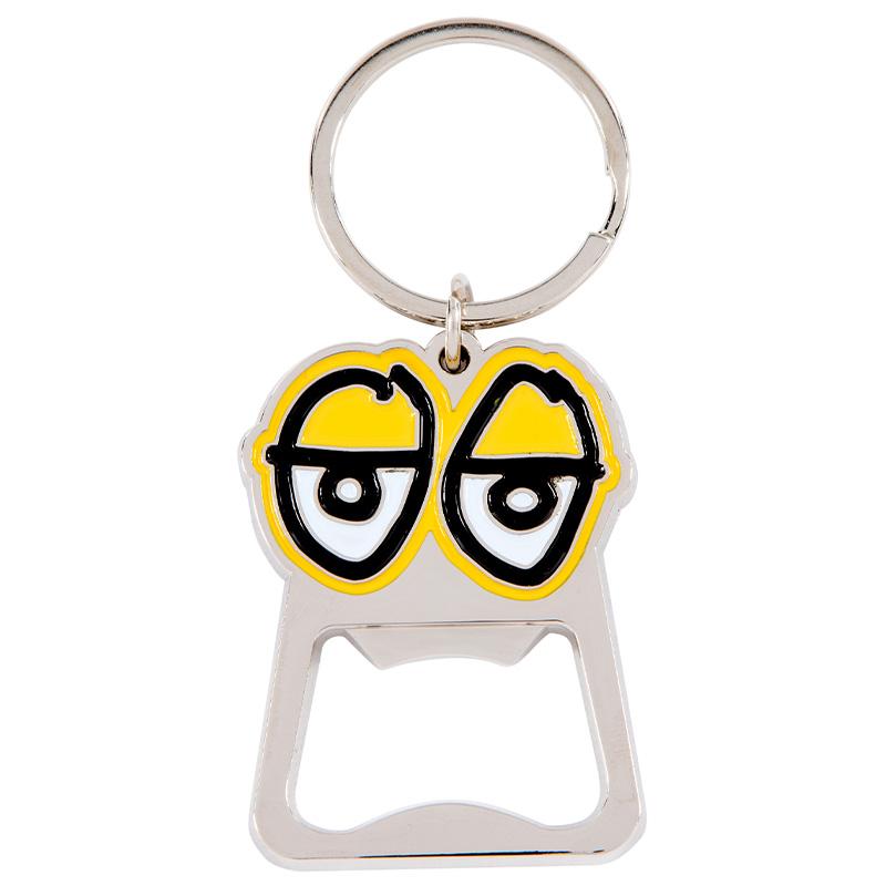 Krooked Eyes Key Chain Polished Nickel/Yellow