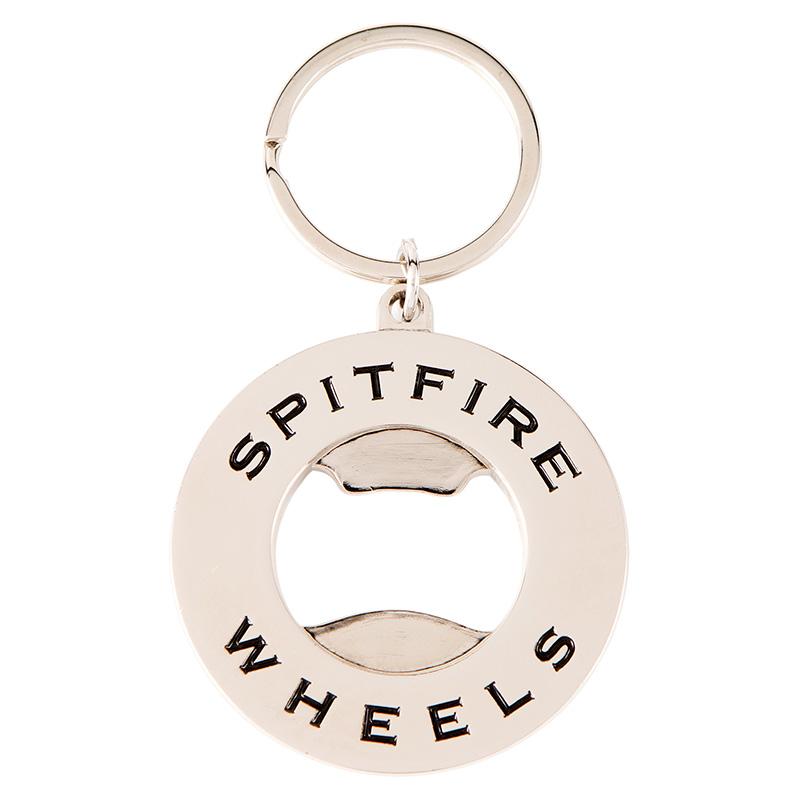 Spitfire Classic Swirl Bottle Opener Keychain Polished Nickel/Black